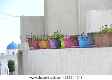 colored pots, Santorini Greece - stock photo
