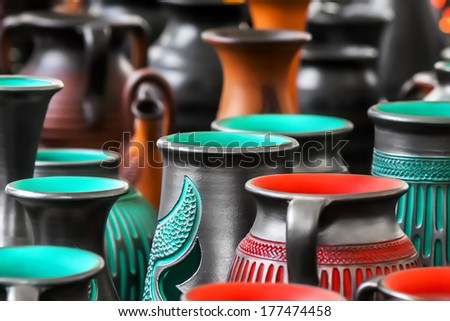 colored pottery - stock photo