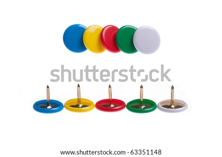 colored push pins (front and back) isolated on white background