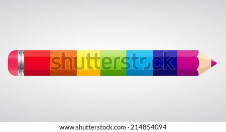 Colored Rainbow Pencil  Illustration. Isolated.