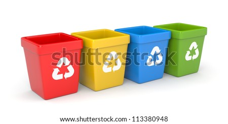 Colored recycling bins - stock photo