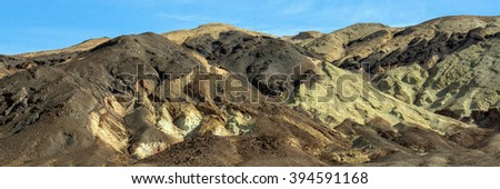 Colored rock hills in Death Valley National Park - stock photo