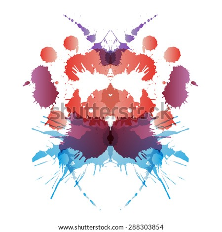 Colored rorschach test card - stock photo