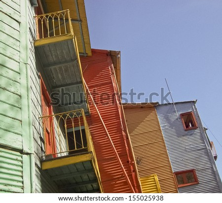 Colored Rustic Houses in Argentina - stock photo