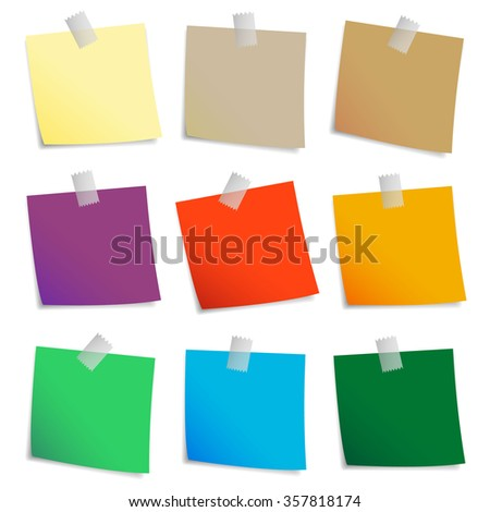 Colored set of sticky notes - stock photo