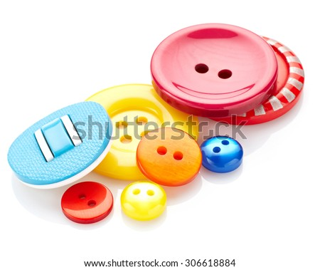 Colored sewing buttons isolated on white background - stock photo