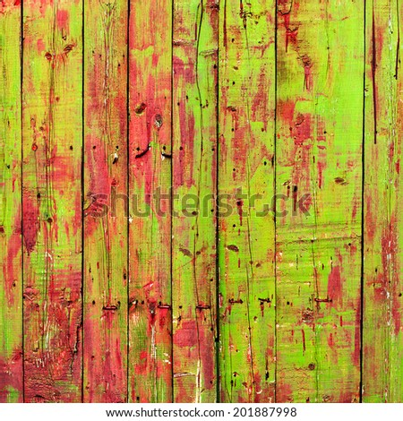 Colored Shabby Wooden Planks with cracked paint, texture - stock photo