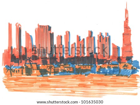 Colored sketch of a skyline of modern buildings in Dubai, UAE - stock photo