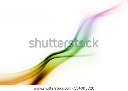colored smoke curves isolated on white background