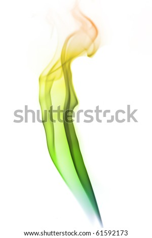 Colored smoke isolated on white