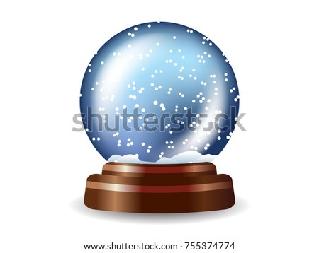 Colored snow globe composition on white background with shadows and lights