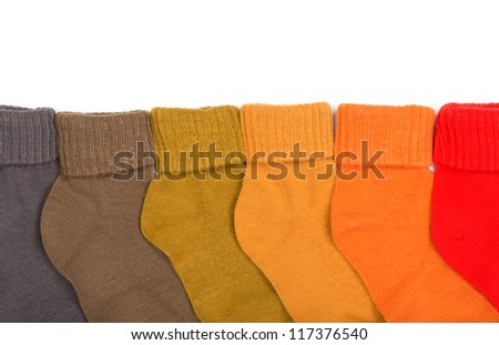 Colored socks isolated on white background