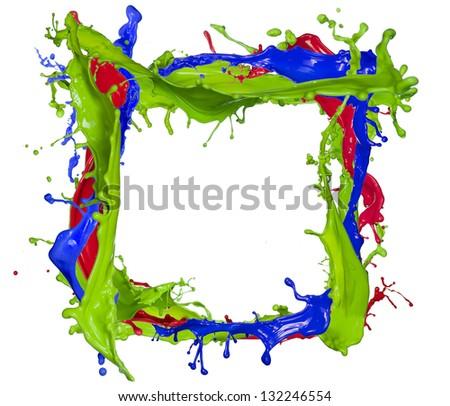 Colored splashes frame, isolated on white background - stock photo