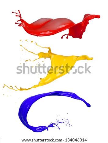 Colored splashes on white background - stock photo