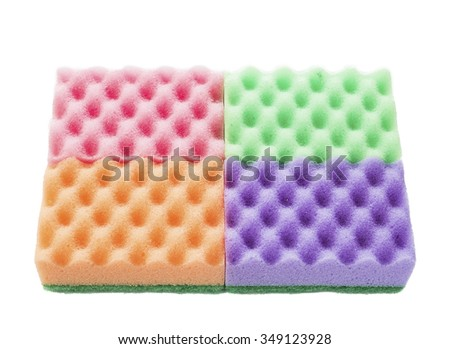 colored sponge, sponge for washing dishes on a white background