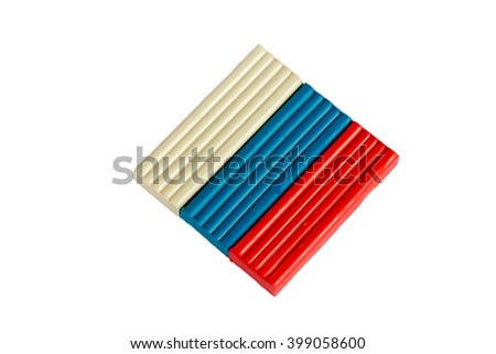 Colored sticks, clay, Russia flag