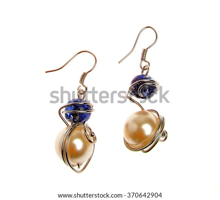 colored stone earrings isolated on white background
