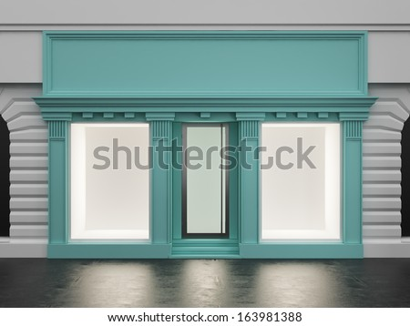 Colored store front with empty showcase - stock photo