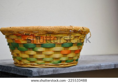 colored straw basket