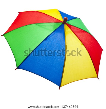 colored striped umbrella isolated on a white background - stock photo