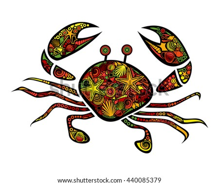 Colored Stylized Crab Isolated On White Background For Coloring Book Or Page Adult Anti
