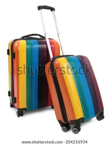 colored suitcase isolated on white background - stock photo