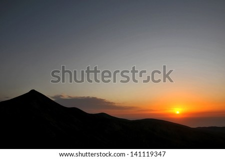 Colored Sunset over a Mountain, in Canary Islands, Spain
