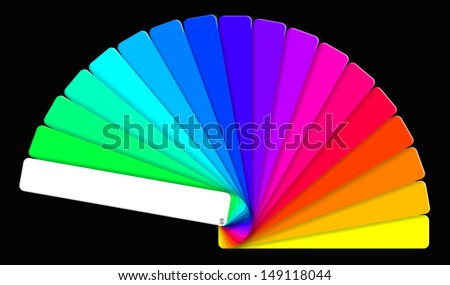 colored swatches book showing the rainbow colors