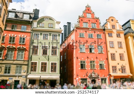 Colored Swedish homes. Homes in city centre.