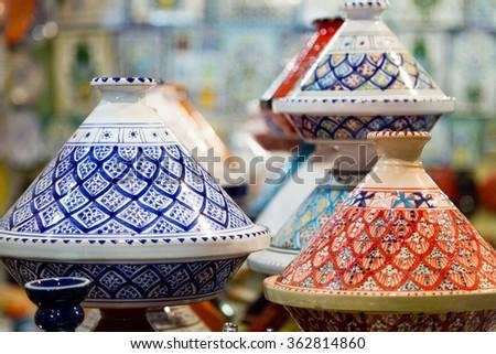 Colored Tajine - Moroccan dish - stock photo
