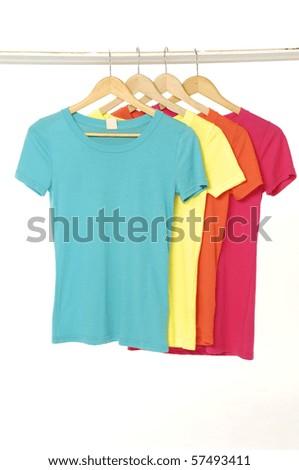 colored Tee Shirts display - stock photo