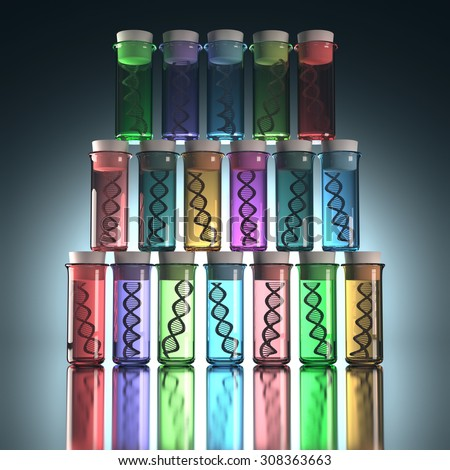 Colored test tubes with genetic codes inside. Concept of copy and genetic alteration. Clipping path included.