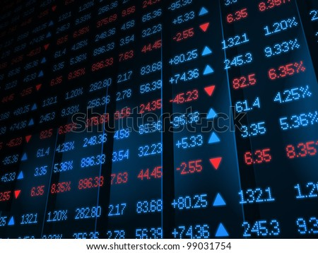 Colored ticker board on bar chart - stock photo