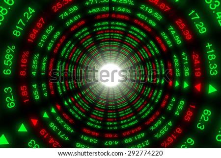 Colored ticker board on black tunnel   - stock photo
