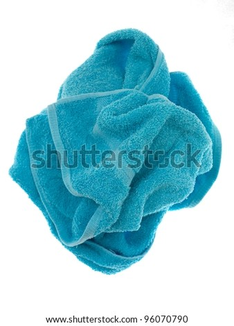 Colored towels isolated against a white background - stock photo
