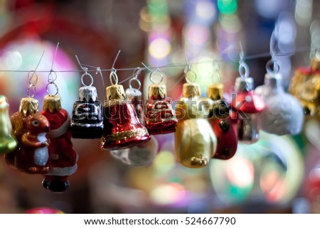 Colored toys for the Christmas decorations and the Christmas tree. Sale of Christmas toys for the holiday.