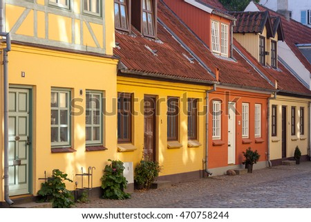 Colored traditional houses in a row in Odense, Denmark