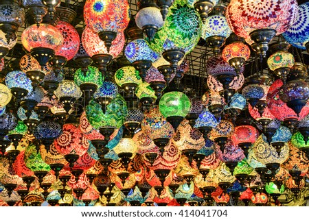 colored turkey of glass lamps in the central market of istanbul - stock photo