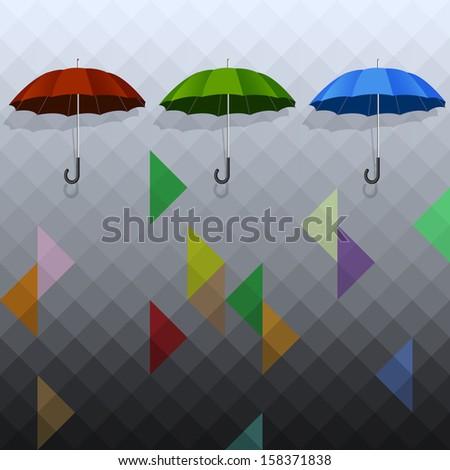 Colored umbrellas on geometric background. Raster version - stock photo
