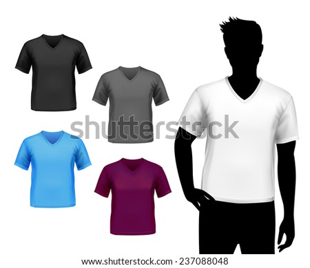 Colored v-neck fashion t-shirts male set with man silhouette isolated  illustration