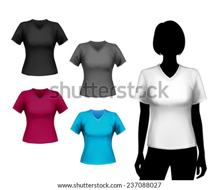 Colored v-neck t-shirts female set with woman body silhouette isolated  illustration