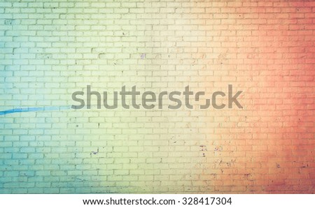 Colored wall background rainbow style. concept about brick walls and backgrounds - stock photo