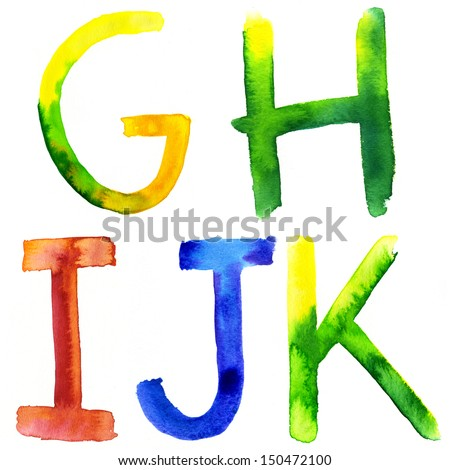 Colored watercolor hand painted letters. G,H, I, J, K - stock photo