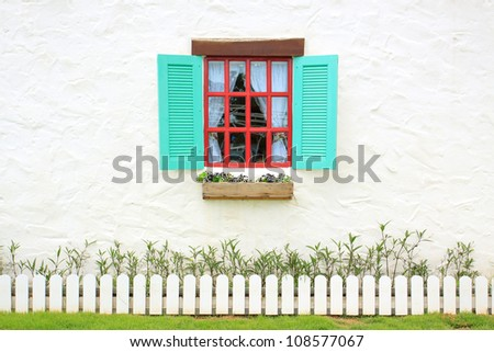 Colored windows on the wall background