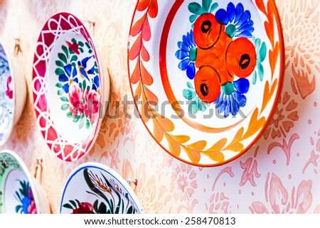 Colored with flower design, ornamental plate is hanging on the wall.