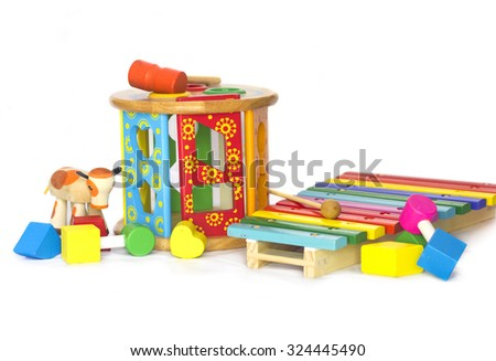 Colored wodden toys - stock photo