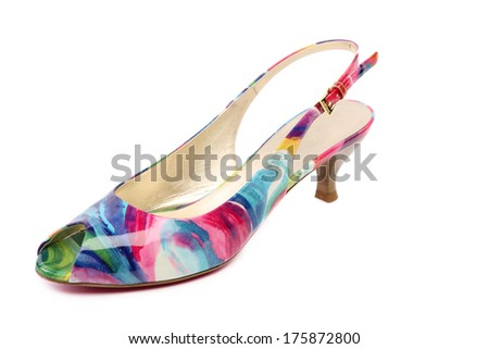colored women's shoes. Isolated on a white background. - stock photo