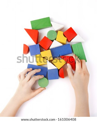 Colored wooden toys for the building - stock photo