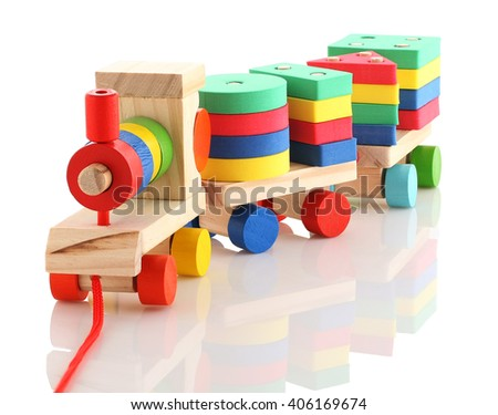 Colored wooden train on white background isolate