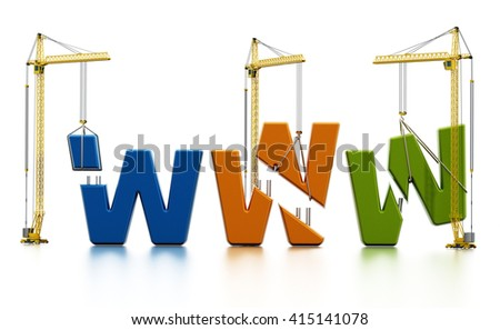 Colored www letters carried by construction cranes forming www word. - stock photo